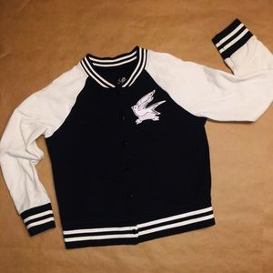 JUSTICE BLACK/White button front jacket size 8